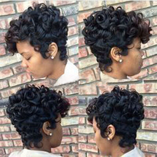 Women Short Black Brown Front Curly Hairstyle Synthetic Hair Wigs For Black Women-WeaveKINGDOM.com