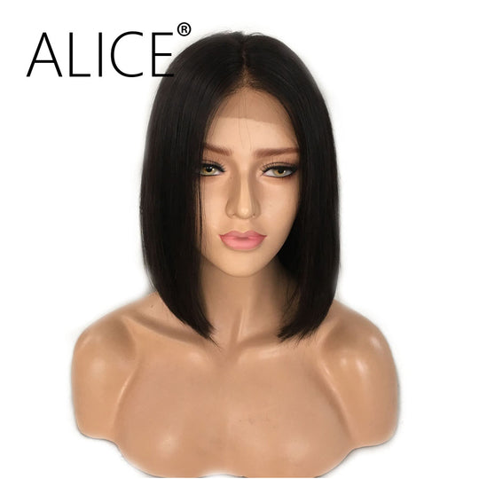 ALICE Short Bob Lace Front Wigs With Baby Hair 8-16 Inch Silky Straight Brazilian Remy Hair Wigs For-WeaveKINGDOM.com