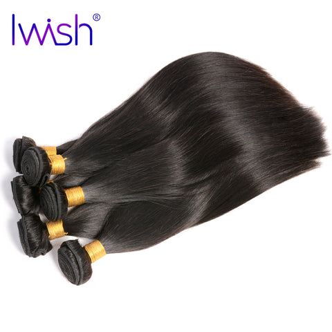 Iwish Brazilian Straight Hair 100% Human Hair Weave Bundles 1pc Non Remy Hair Natural Color 10-28-WeaveKINGDOM.com