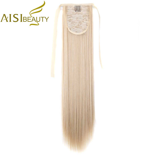 "AISI BEAUTY 22"" Silky Straight 15 Colors Synthetic Hair Ribbon Drawstring Ponytail Pieces Extension-WeaveKINGDOM.com"