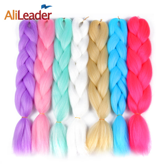 AliLeader Crochet Braid Hair Ombre Kanekalon Braiding Hair, 24 Inch 100G Pure Color Xpression-WeaveKINGDOM.com