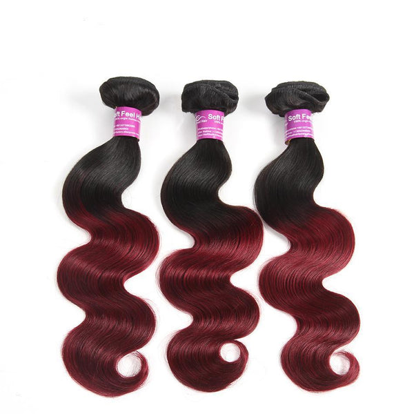 Soft Feel Hair 1 Piece Ombre Brazilian Body Wave Hair Weave Bundles 1B/Burgundy Ombre Human Hair-WeaveKINGDOM.com