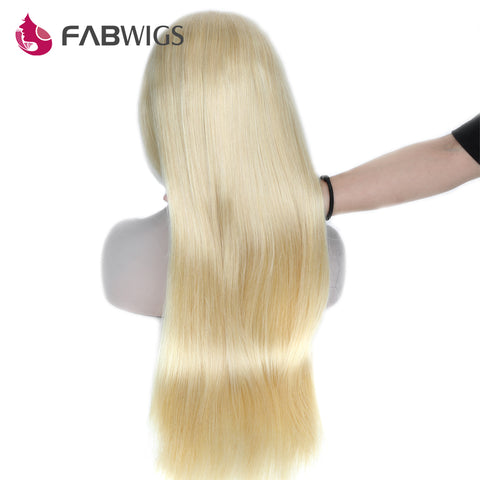 Fabwigs Silky Straight Glueless Lace Front Wig 150% Density #613 Blond Pre Plucked Human Hair Wig-WeaveKINGDOM.com