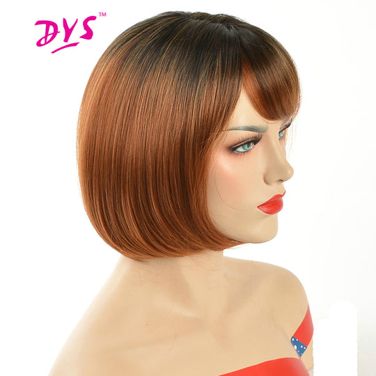 Deyngs Pixie Cut Ombre Red Bob Wigs For Black Women Short Straight Natural Synthetic Hair Wig With-WeaveKINGDOM.com