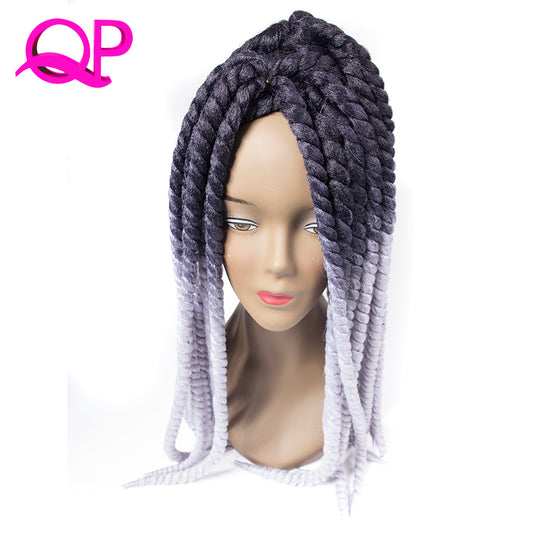 Qp hair Ombre Mambo Havana Twist Braiding Hair 2X Crochet Twist Braids Synthetic Black Blonde Gray-WeaveKINGDOM.com