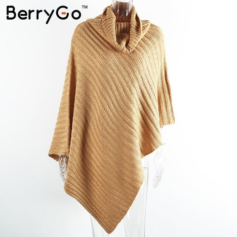 BerryGo Vintage cotton turtleneck sweater women knitting poncho irregular pullover streetwear Winter-WeaveKINGDOM.com