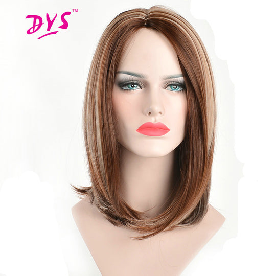 Deyngs 14inch Short Bob Women's Synthetic Wigs Straight Pixie Cut Brown Mix Blonde Color Natural-WeaveKINGDOM.com