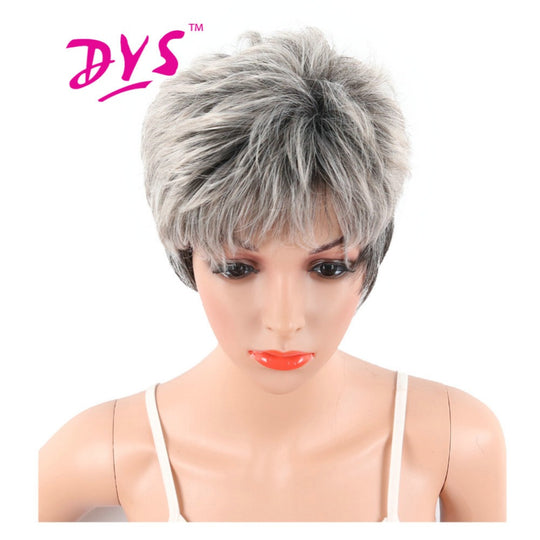 Deyngs Pixie Cut Big Wave Synthetic Wigs For Black Women Short Gray Blonde Color Natural Hairstyle-WeaveKINGDOM.com