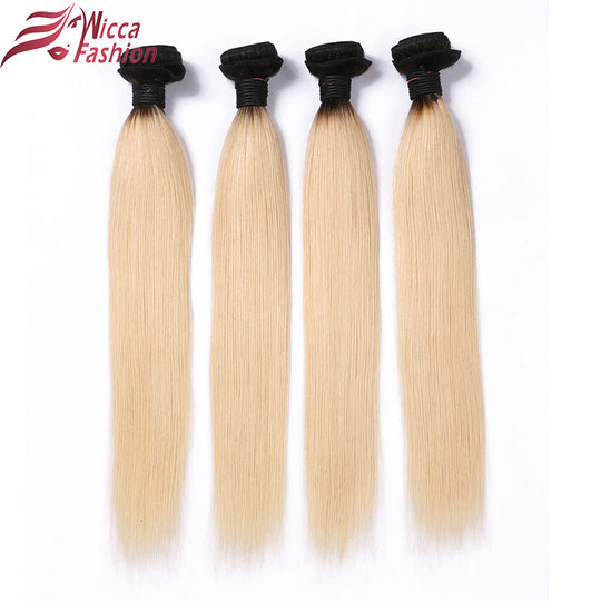 Dream Beauty Ombre Peruvian Hair Straight Hair Bundles 1 PC 1B/613 ombre Blonde Non-Remy Human-WeaveKINGDOM.com