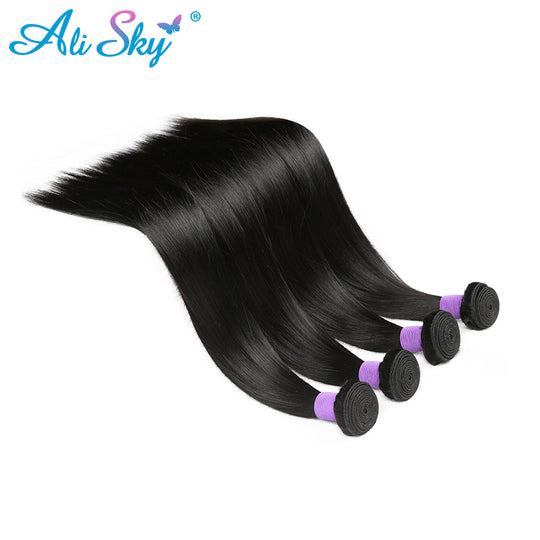 Ali Sky Brazilian straight hair Natural Black 100% human hair Weave thick bundles 8-26inch free-WeaveKINGDOM.com