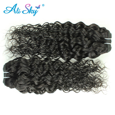 Peruvian Remy Water wave 1piece 100% Human hair weaving extension Natural Black thick weft can buy-WeaveKINGDOM.com