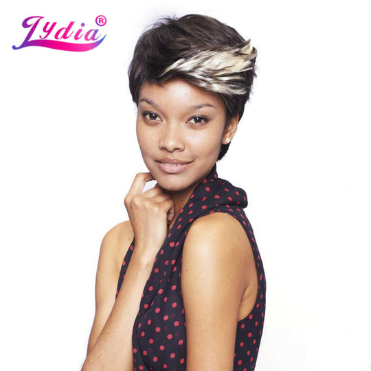 Lydia For Women Short Synthetic Wigs Ombre Color FT1B/613 100% Kanekalon Wig African American Nature-WeaveKINGDOM.com
