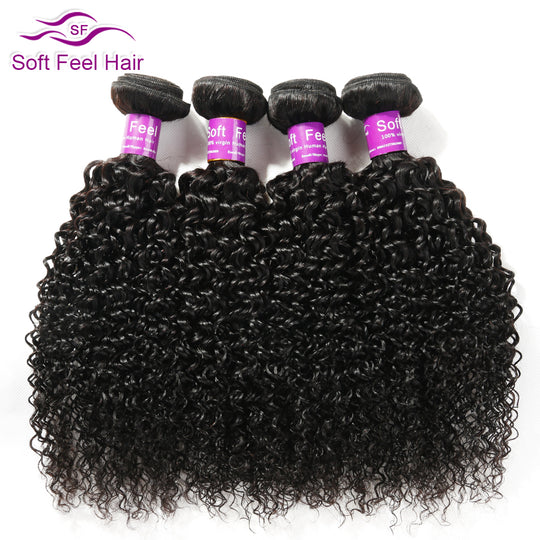Soft Feel Hair 1 Piece Brazilian Kinky Curly Hair Weave Bundles Non Remy Human Hair Extensions-WeaveKINGDOM.com