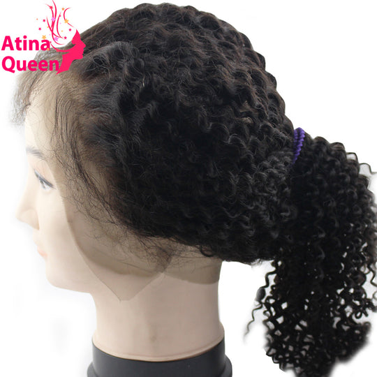 Atina Queen Kinky Curly 360 Lace Frontal With Baby Hair Pre plucked Mongolian Afro Kinky Curly-WeaveKINGDOM.com