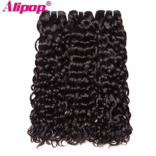 ALIPOP Peruvian Water Wave Bundles Human Hair Bundles Non Remy Hair Extensions 1 PC Natural Black-WeaveKINGDOM.com