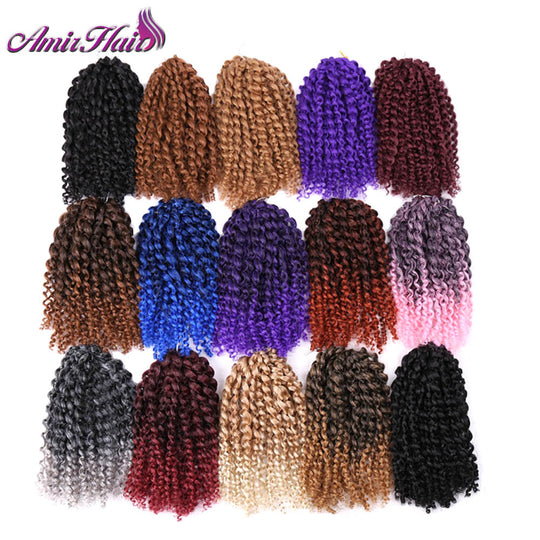 Amir Hair 8inch 3pcs/set Marly braid Synthetic Braiding hair with Ombre purple pink and blonde-WeaveKINGDOM.com