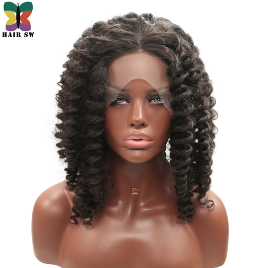 HAIR SW Short Bob Deep Wave Synthetic Lace Front Wig Fluffy Wand Curl Bounce Twist Braiding Heat-WeaveKINGDOM.com
