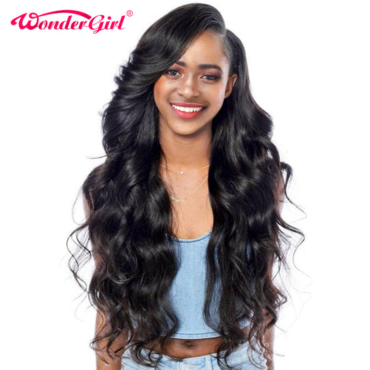 Wonder girl Glueless Lace Front Human Hair Wigs For Black Women Malaysian Body Wave Pre Plucked Lace-WeaveKINGDOM.com