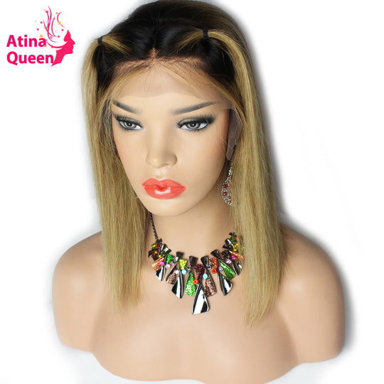 Atina Queen 1b 27 Short Bob Wigs for Black Women Straight Ombre Honey Blonde Remy Lace Front Wig-WeaveKINGDOM.com