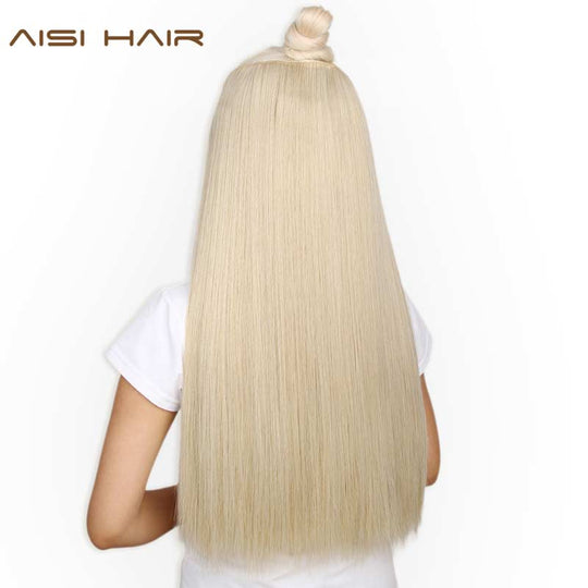 AISI HAIR 22 inch(55cm) Long Straight Women Clip in Hair Extensions Black Brown High Tempreture-WeaveKINGDOM.com