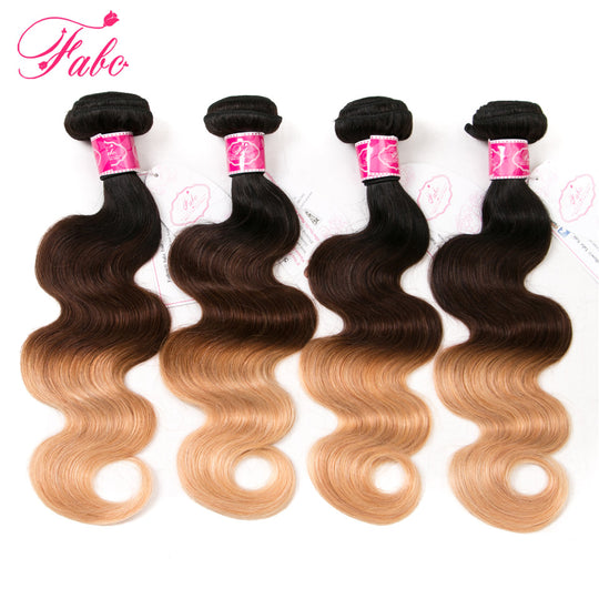 FABC Ombre Brazilian hair weave bundles Body Wave Ombre Human Hair Extensions weaving 1b/4/27 3 Tone-WeaveKINGDOM.com