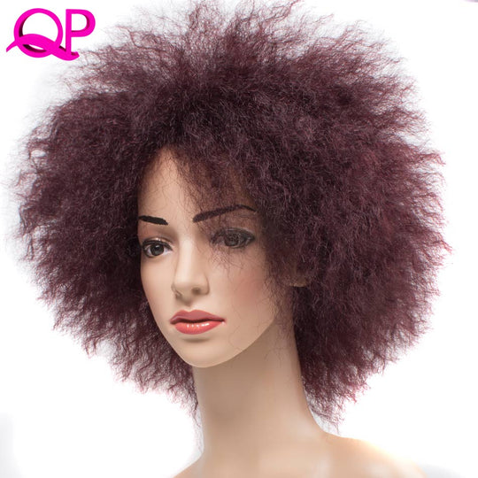 Qp Hair Afro Kinky Straight Kanekalon synthetic Wig African American short wigs for Black Women-WeaveKINGDOM.com