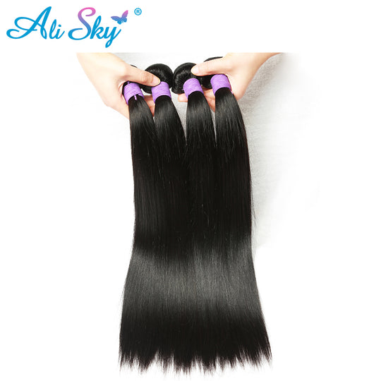 "Ali Sky Hair Weaving 1 Piece Peruvian Straight 100% nonremy Human Hair Weft Thick Bundles 8""- 26""-WeaveKINGDOM.com"