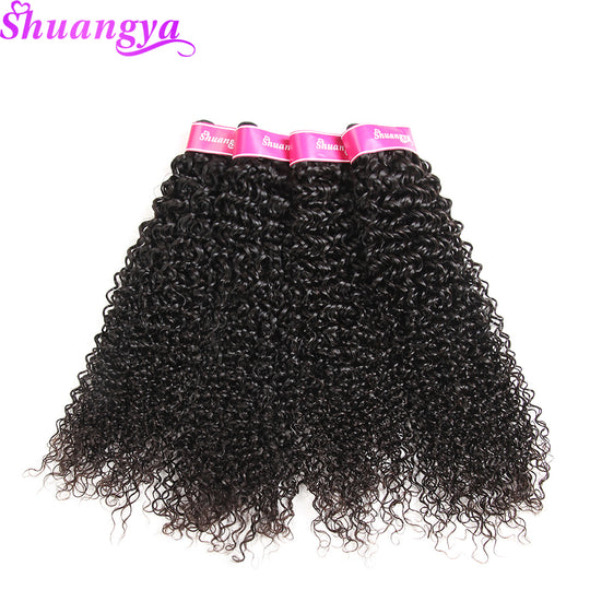 Shuangya Hair Mongolian Kinky Curly hair Weave Bundles Natural Color 100% Human Hair extensions-WeaveKINGDOM.com
