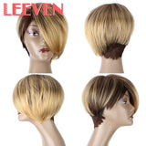 Leeven Yaki Straight Short Wigs Synthetic Hair for black or white women High Temperature Fiber Afro-WeaveKINGDOM.com