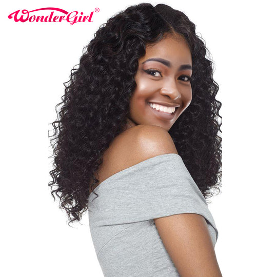 Wonder girl Glueless Lace Front Human Hair Wigs For Black Women Pre Plucked Brazilian Deep Wave-WeaveKINGDOM.com