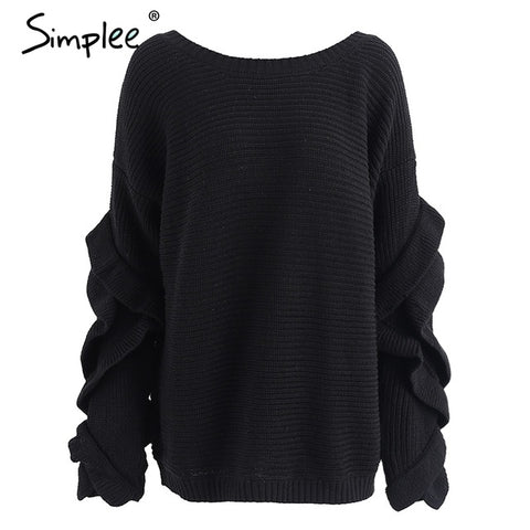 Simplee Ruffle knitted sweater women pullover female Casual loose round neck winter sweater Autumn-WeaveKINGDOM.com