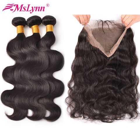 360 Lace Frontal With Bundle Peruvian Body Wave 3 Bundles With Closure Mslynn Hair Non Remy Human-WeaveKINGDOM.com