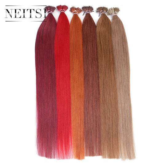 Neitsi Straight Brazilian Fusion Hair I Tip Stick Tip Keratin Hair Machine Made Remy Human Hair-WeaveKINGDOM.com