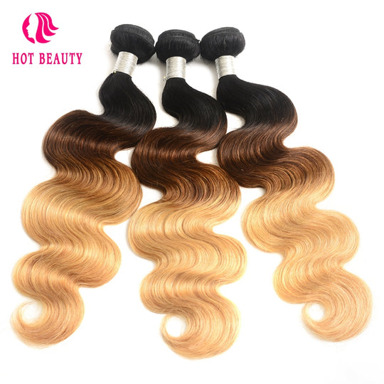 Hot Beauty Hair Ombre Brazilian Hair Weave Body Wave Bundles T1B/4/27 Human Hair Extensions 1-WeaveKINGDOM.com
