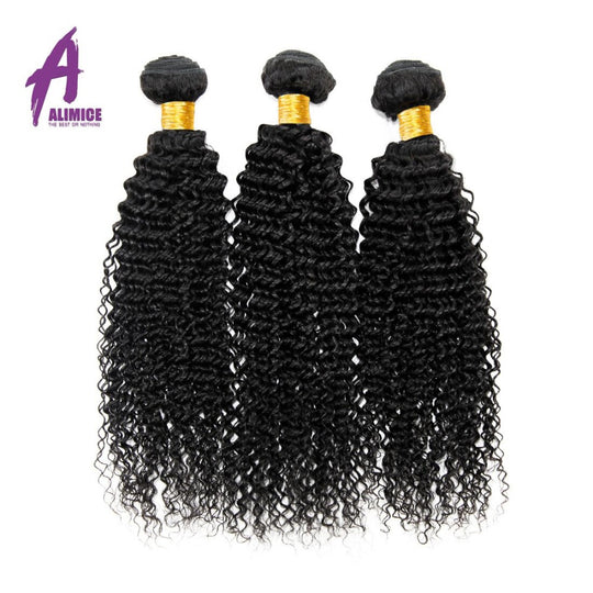 Alimice Hair Brazilian Kinky Curly Hair Extensions 100% Human Hair Weave Bundles Natural Color-WeaveKINGDOM.com