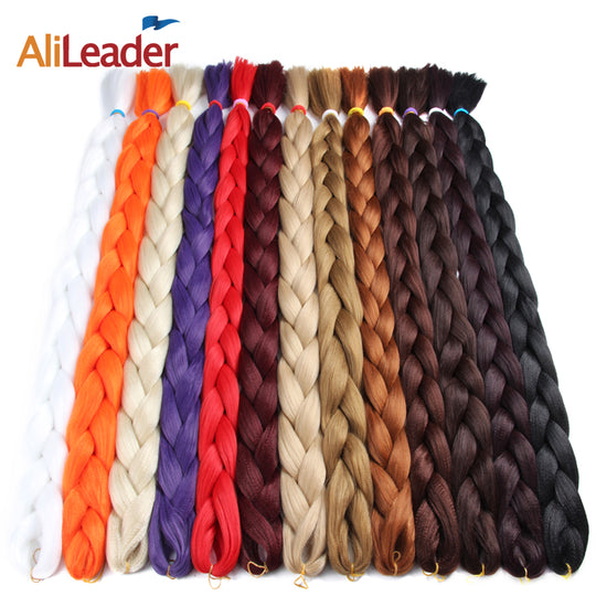 Kanekalon Jumbo Braid Hair 82 Inch 165G Crotchet Braids Pure Color Synthetic Braiding Hair Black-WeaveKINGDOM.com