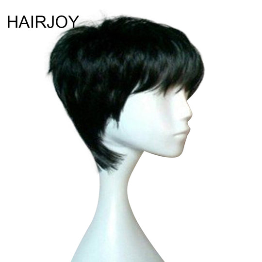 HAIRJOY Woman Pixie Hairstyle 1B Black Short Straight Wig Heat Resistant Natrural Synthetic Hair-WeaveKINGDOM.com