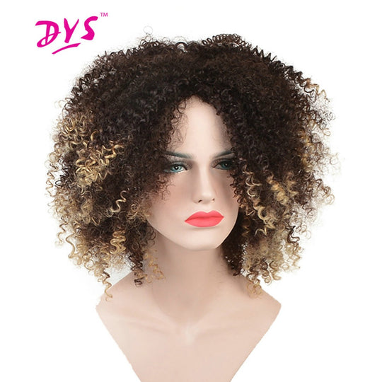Deyngs Short Afro Kinky Curly Synthetic Wigs For Black Women Ombre Blonde Color Natural Hair Wigs-WeaveKINGDOM.com