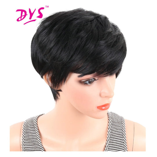 Deyngs Short Straight Synthetic Wigs Pixie Cut Natural Hair Wig With Bangs For Black Women Brown-WeaveKINGDOM.com