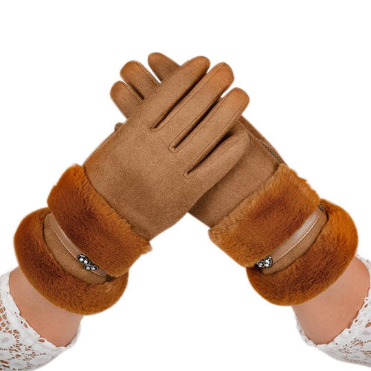 FEITONG Velvet Winter Gloves Elegant Women Lady Warm Glove Soft Wrist Thick Mitten Driving Full-WeaveKINGDOM.com