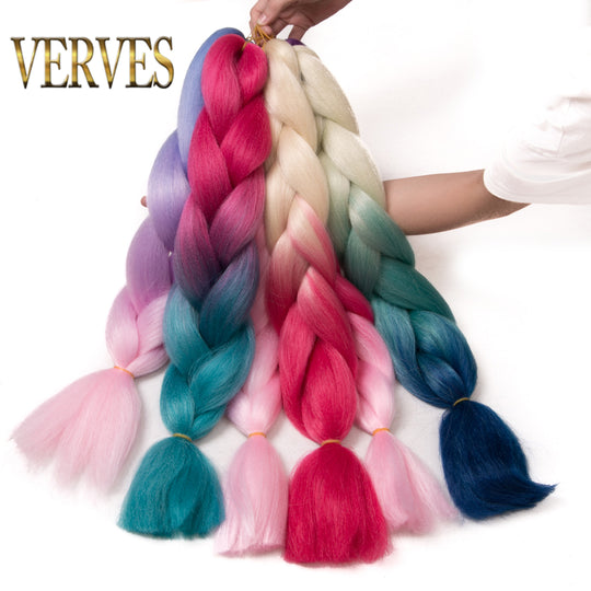 VERVES Braiding Hair 1 piece 24 inch Jumbo Braids 100g/piece Synthetic ombre Kanekalon Fiber Hair-WeaveKINGDOM.com