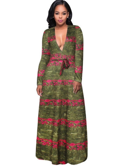 Deep V Neck Printing Women's Maxi Dress-WeaveKINGDOM.com