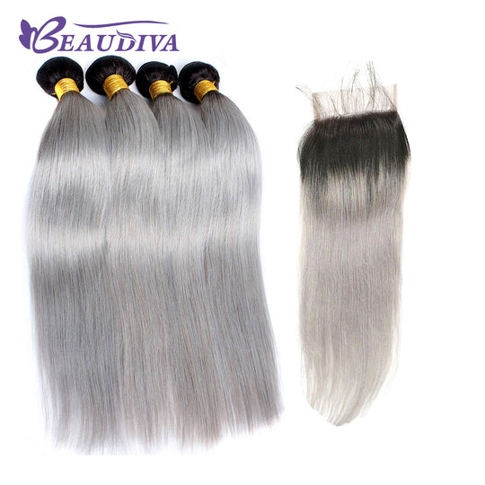 BEAUDIVA Pre-Colored Brazilian Remy Human Hair Bundles With Closure Straight Dark Root Grey Ombre-WeaveKINGDOM.com