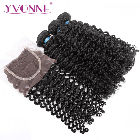 Yvonne Hair Malaysian Curly Natural Color 100% Virgin Human Hair 3 Bundles With 4x4 Free Part Lace-WeaveKINGDOM.com