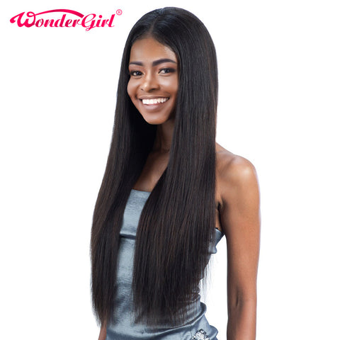Wonder girl Pre Plucked Full Lace Human Hair Wigs For Black Women Brazilian Straight Lace Wig With-WeaveKINGDOM.com