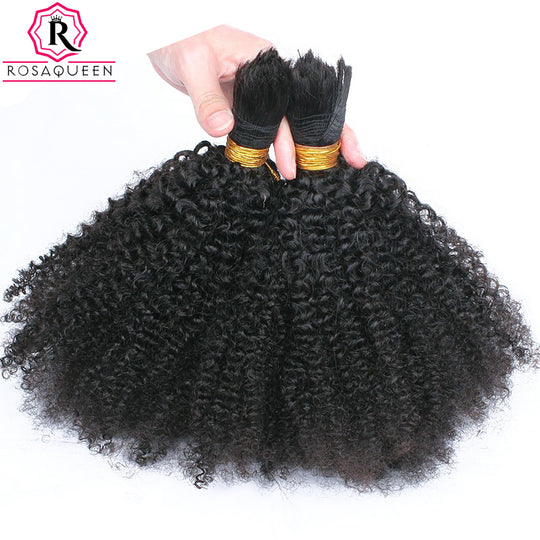 Human Braiding Hair Bulk No Attachment Mongolian Afro Kinky Curly Bulk Hair For Braiding 1Pc Crochet-WeaveKINGDOM.com