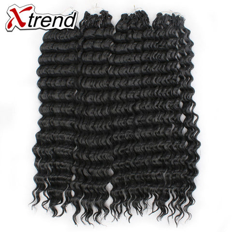 Xtrend 18inch 75g Synthetic Depp Curly Crochet Braiding Hair Bundles Natural Black Hair For Women-WeaveKINGDOM.com