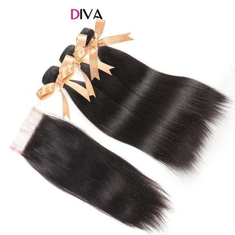 Sparkle Diva Brazilian Straight Hair Bundles With Lace Closure Free Part Natural Color 3 Bundles-WeaveKINGDOM.com