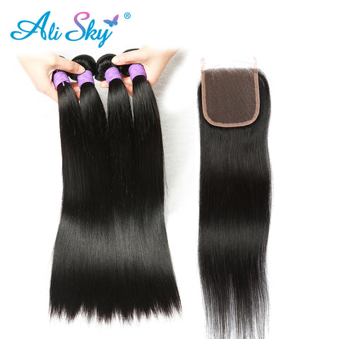 Peruvian Straight Hair 3 Bundles with 1pc Lace Closure 4x4 Free Part Non Remy no tangle no-WeaveKINGDOM.com