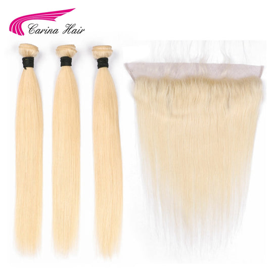 Carina Brazilian Blonde Color Hair Wefts 3 Bundle with 13*4 Ear to Ear Lace Frontal Closure Human-WeaveKINGDOM.com